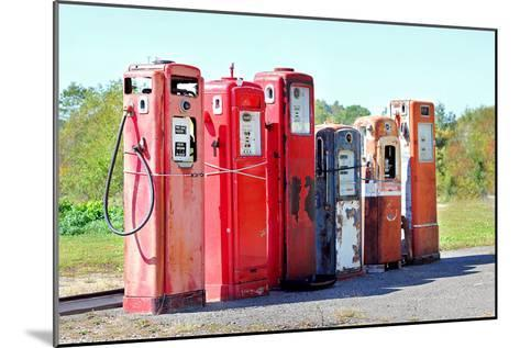 Vintage Abandoned Gas Tanks at Stations-Christin Lola-Mounted Photographic Print