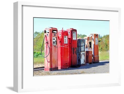 Vintage Abandoned Gas Tanks at Stations-Christin Lola-Framed Art Print