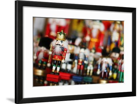 Christmas Nutcracker King in Front of Toy Soldiers-Christin Lola-Framed Art Print