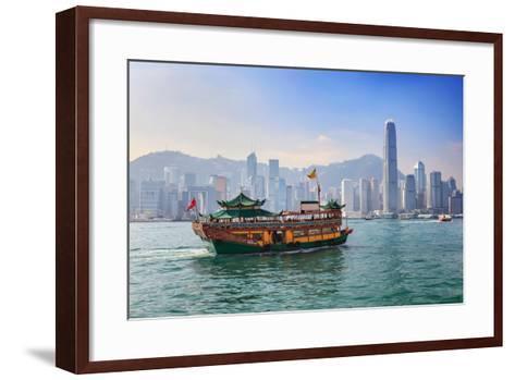 Hong Kong City Skyline View from Kowloon- Noppasinw-Framed Art Print