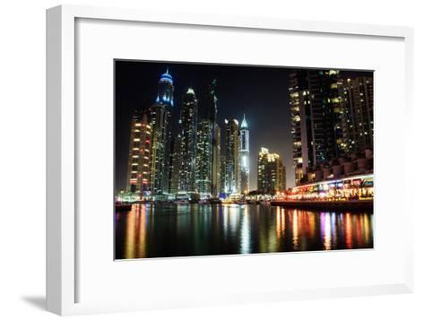 Dubai Marina at Night-michalkardos-Framed Art Print