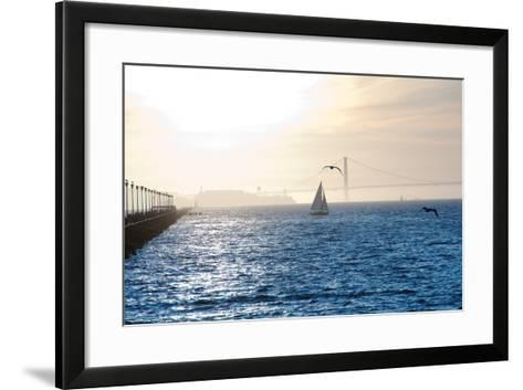 Alcatraz at Sunset-aspen rock-Framed Art Print