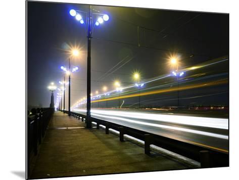 Stone Bridge Lights in Fog ,Riga- dolfvik-Mounted Photographic Print