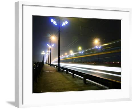 Stone Bridge Lights in Fog ,Riga- dolfvik-Framed Art Print