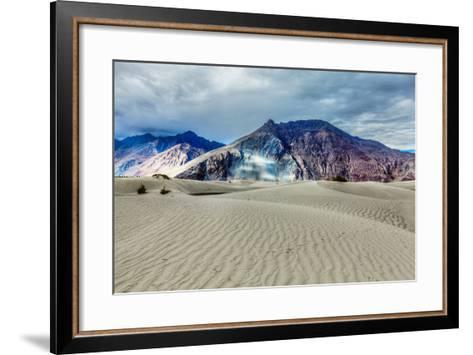 Sand Dunes in Himalayas. Hunder, Nubra Valley, Ladakh-f9photos-Framed Art Print