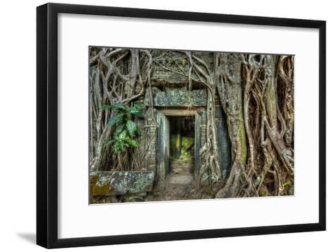 Ancient Stone Door and Tree Roots, Ta Prohm Temple, Angkor, Camb-f9photos-Framed Art Print