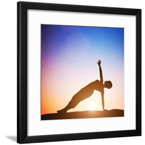 Woman in Side Balance Yoga Meditating at Sunset. Zen-Michal Bednarek-Framed Art Print