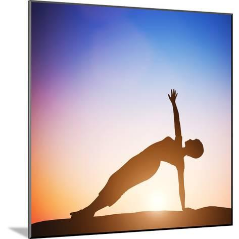 Woman in Side Balance Yoga Meditating at Sunset. Zen-Michal Bednarek-Mounted Photographic Print