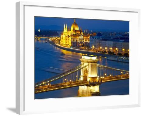 Budapest, Hungary. Chain Bridge and the Parliament-silver-john-Framed Art Print