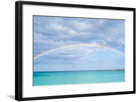 Rainbow over Ocean-bradcalkins-Framed Art Print