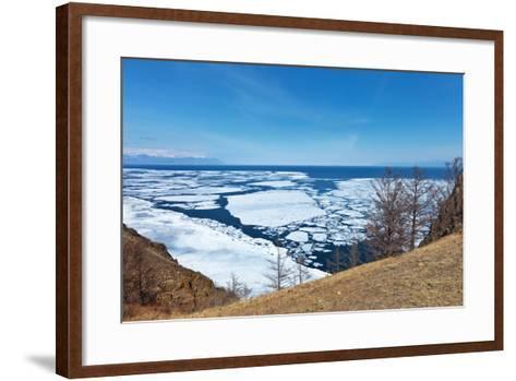 Lake Baikal in Spring. Top View of the Ice Drift-katvic-Framed Art Print