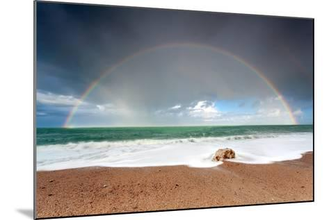 Big Colorful Rainbow over Ocean-Olha Rohulya-Mounted Photographic Print