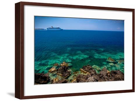 Cruise Ship beyond Reef-EvanTravels-Framed Art Print