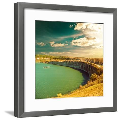 Autumn Riverside Panorama View-Alexey Rumyantsev-Framed Art Print