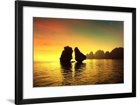 Halong Bay in Sunset, Vietnam. Unesco World Heritage Site.-cristaltran-Framed Art Print