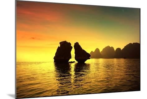 Halong Bay in Sunset, Vietnam. Unesco World Heritage Site.-cristaltran-Mounted Photographic Print