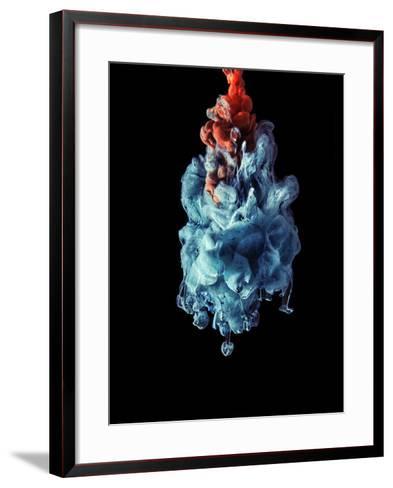Blua and Red Color Drop in the Dark-sanjanjam-Framed Art Print