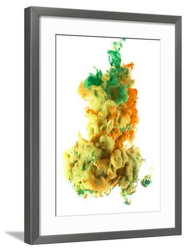 Ink Color Drop, Yellow Orange Green-sanjanjam-Framed Art Print