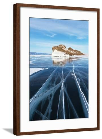 Baikal in February. the Cracks on Smooth Blue Ice-katvic-Framed Art Print