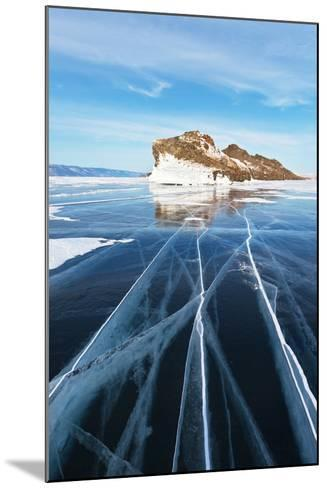 Baikal in February. the Cracks on Smooth Blue Ice-katvic-Mounted Photographic Print