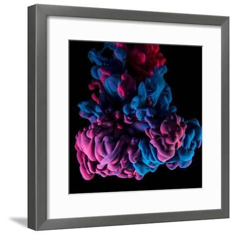 Ink Color Drop, Violet and Pink on Black Background-sanjanjam-Framed Art Print