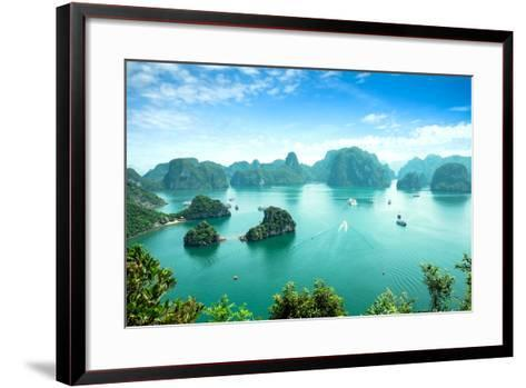 Halong Bay in Vietnam. Unesco World Heritage Site.-cristaltran-Framed Art Print