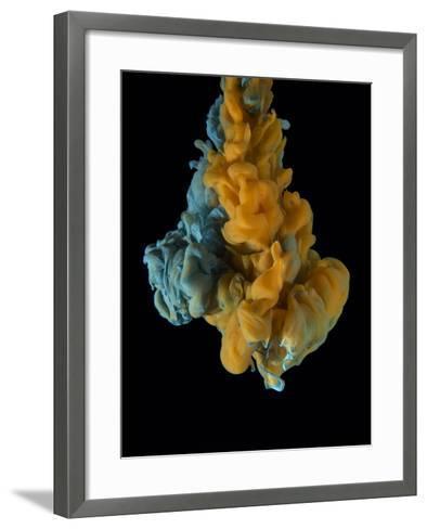 Color Drop on Black Background. Yellow Orange, Blue.-sanjanjam-Framed Art Print