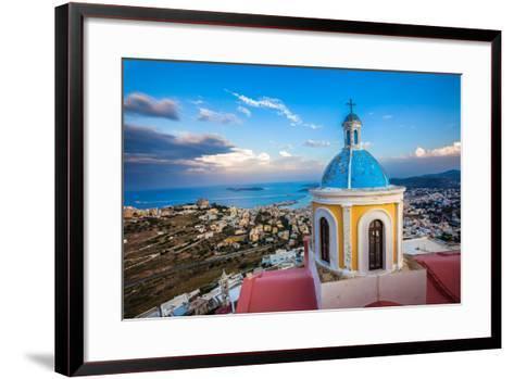View from Basilica San Giorgio - Ano Syros, Greece-EvanTravels-Framed Art Print