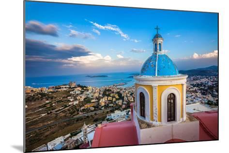 View from Basilica San Giorgio - Ano Syros, Greece-EvanTravels-Mounted Photographic Print