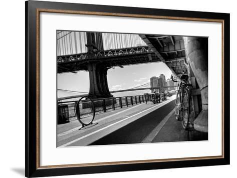 Manhattan Waterfront Bike Path B&W-EvanTravels-Framed Art Print