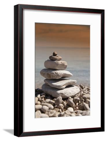 Stack of Stones, Zen Concept, on Sandy Beach-perfectmatch-Framed Art Print