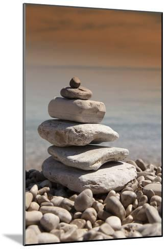Stack of Stones, Zen Concept, on Sandy Beach-perfectmatch-Mounted Photographic Print