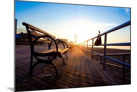 Bench on Coney Island Boardwalk-EvanTravels-Mounted Photographic Print