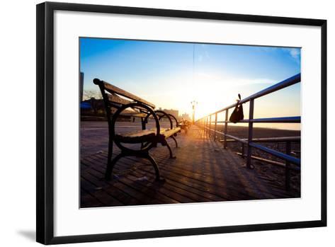 Bench on Coney Island Boardwalk-EvanTravels-Framed Art Print