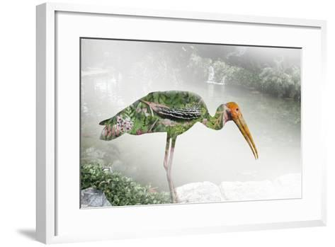Double Exposure Green Nature Concept- pkproject-Framed Art Print