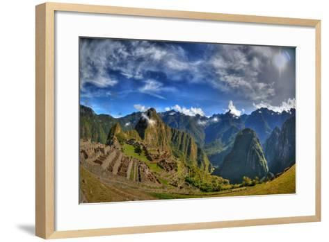 Sun Rise over the Incan Lost City of Machu Picchu - HDR Photo- aharond-Framed Art Print