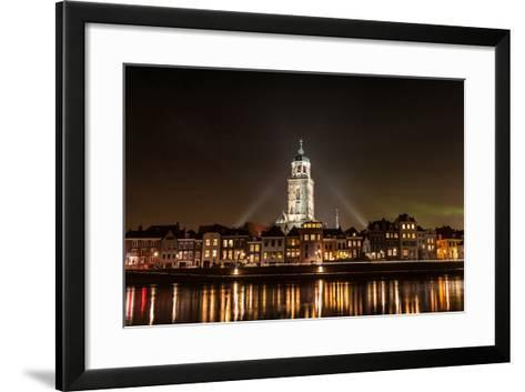 Deventer at Night View from the Other Side of the Ijssel- erpeewee-Framed Art Print