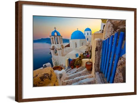 Santorini Sunset Pathway View-EvanTravels-Framed Art Print
