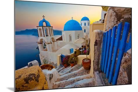 Santorini Sunset Pathway View-EvanTravels-Mounted Photographic Print