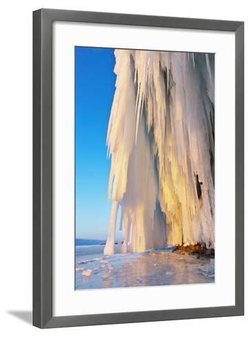 Lake Baikal. Ice and Icicles on Rocks in Sunset Light-katvic-Framed Art Print