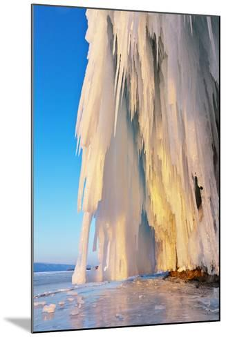Lake Baikal. Ice and Icicles on Rocks in Sunset Light-katvic-Mounted Photographic Print