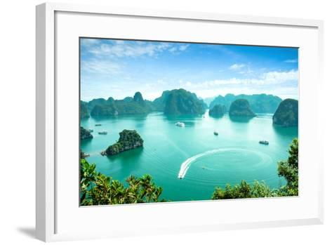 Halong Bay in Vietnam. Unesco World Heritage Site.-cristaltran-Framed Art Print