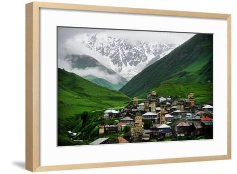 Ushguli Village with Shkhara Mountain in the Background-roibu-Framed Art Print