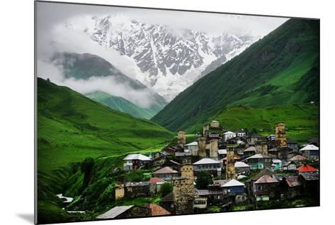 Ushguli Village with Shkhara Mountain in the Background-roibu-Mounted Photographic Print