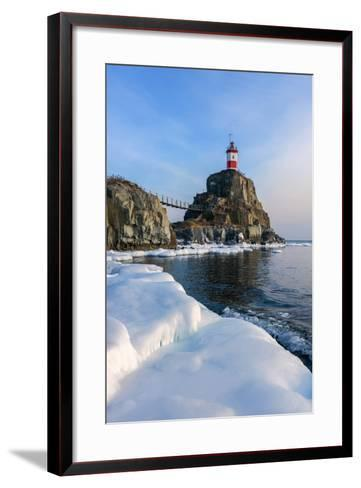 Winter Picture Lighthouse on a Lonely Rock.- vladsv-Framed Art Print