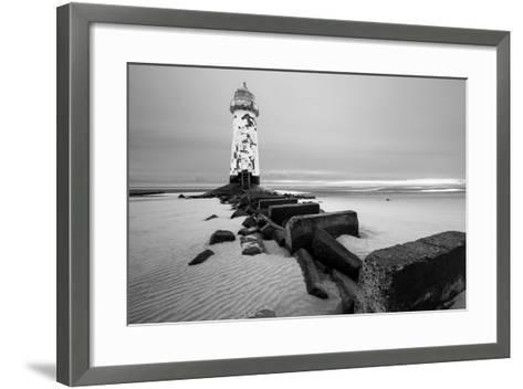 Talacre Lighthouse Point of Ayr- cieniu1-Framed Art Print