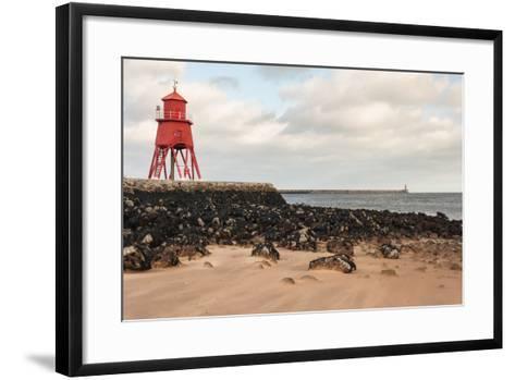 Herd Groyne Lighthouse in South Shields-Patrik Stedrak-Framed Art Print