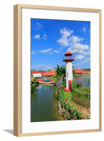 Replica Lighthouse at Hua Hin in Thailand- sarayuth3390-Framed Art Print