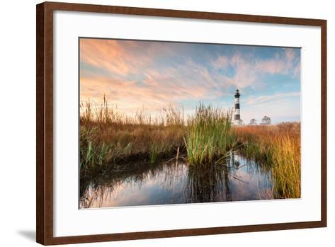 Bodie Island Lighthouse Coastal Marsh Landscape-markvandyke-Framed Art Print