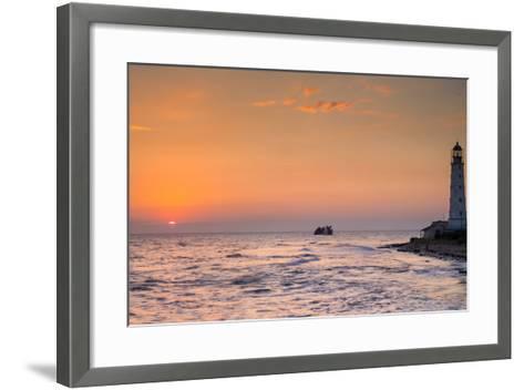 Sunrise and Lighthouse-sergejson-Framed Art Print